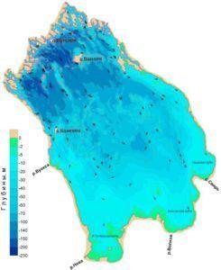 Карта глубин Ладожского озера