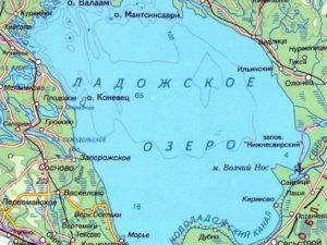 Ладожское озеро на карте