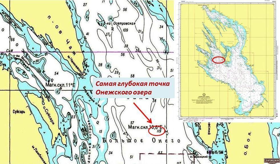 Самая глубокая точка Онежского озера