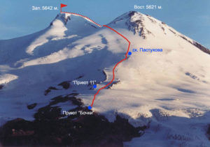 Высота двух вершин вулкана