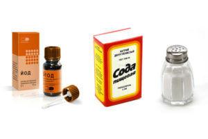 Ингредиенты для раствора из соды, соли и йода