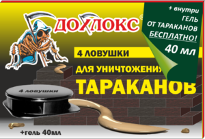 Ловушки Дохлокс 4 шт + Гель от тараканов Дохлокс 40 мл