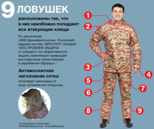 Специальный костюм для прогулки в лесу защищающий от укусов мошек и клещей