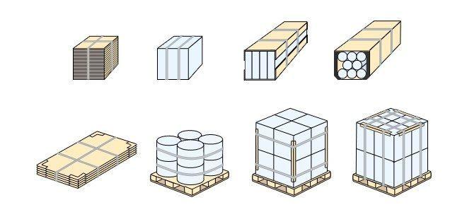 Варианты крепления грузов с использованием стальной ленты