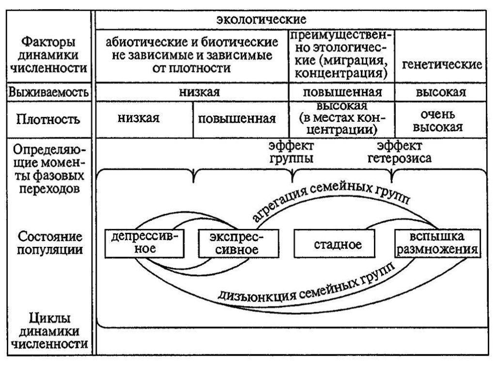Схема взаимодействия факторов динамики численности популяций при вспышке массового размножения насекомых