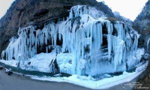 Как выглядят зимой Чегемские водопады